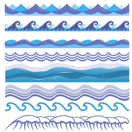 Ilustración de Vector illustration of ocean and sea waves, surfs and splashes. Seamless isolated design elements on white background. Blue marine patterns. - Imagen libre de derechos
