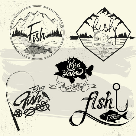 Vector set of fishing club labels, design elements, emblems and badges. Isolated logo illustration in vintage style.