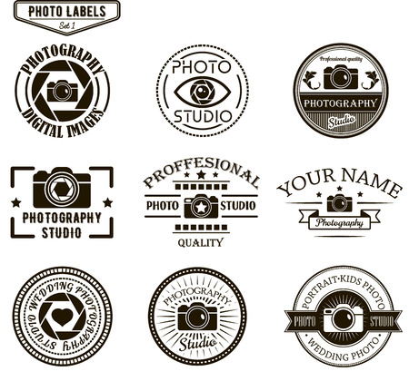 Vector set of photography logo templates. Photo studio logotypes and design elements. Labels, emblems, badges and icons in vintage style.