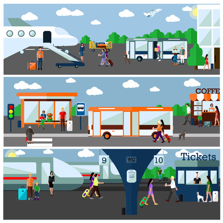 Mode of Transport concept vector illustration. Airport, bus and railway stations. Design elements and banners in flat style. City transportation objects, bus, train, plane, passengers