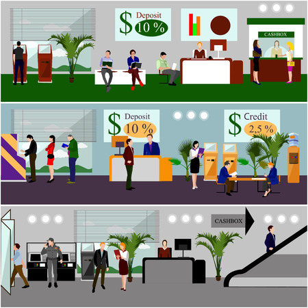 Horizontal vector banners with bank interiors. Finance and money concept. Flat cartoon illustration. Counter desk, cashier, consulting, currency exchange, ATM.