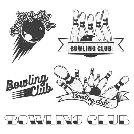 Illustration pour Bowling club logo vector set in vintage style. Design elements, labels, badges and emblems. Strike, balls, ninepins. - image libre de droit