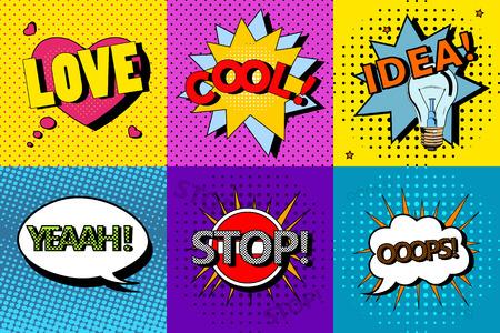 Illustration pour Vector set of comic speech bubbles in pop art style. Design elements, text clouds, message templates. - image libre de droit