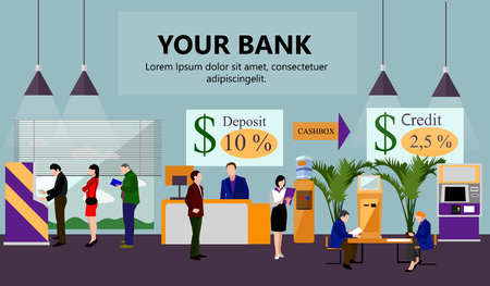 Illustration for Horizontal vector banner with bank interiors. Finance and money concept. Flat cartoon illustration. Counter desk, cashier, consulting, currency exchange, ATM. - Royalty Free Image