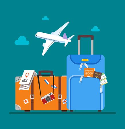 Ilustración de Travel concept vector illustration in flat style design. Airplane flying above tourists luggage, map, passport, tickets and photo camera. Vacation background. - Imagen libre de derechos