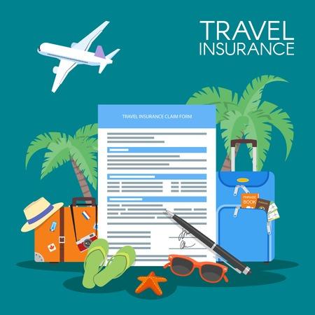 Vektor für Travel insurance form concept vector illustration. Vacation background, luggage plane, palms. - Lizenzfreies Bild
