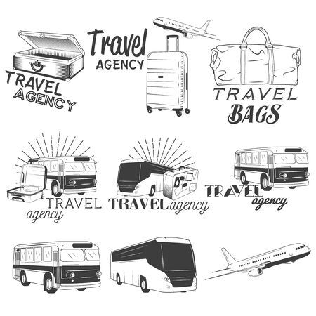 Vector set of travel and transportation labels in vintage
