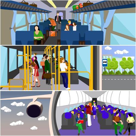 Photo pour Passengers in public transport concept vector banners set. People in bus, train and airplane. Transport interior. - image libre de droit