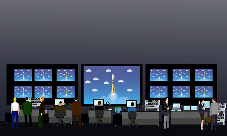 Space mission control center. Rocket launch vector illustration.
