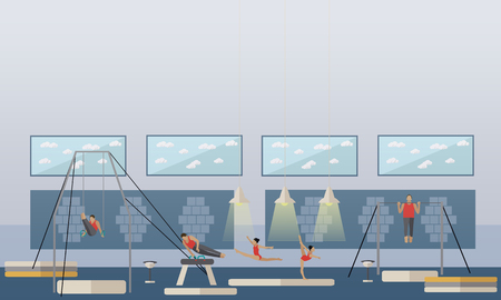 Gymnastic sport competition arena interior vector illustration. Sportsman flat icons. Artistic and rhythmic gymnast exercise.