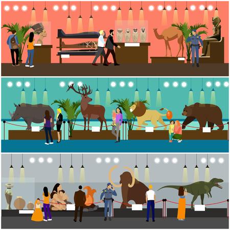 Illustration pour Archaeological museum interior vector banners. Visitors in history museum watching exhibition. Antique museum of paleontology. - image libre de droit