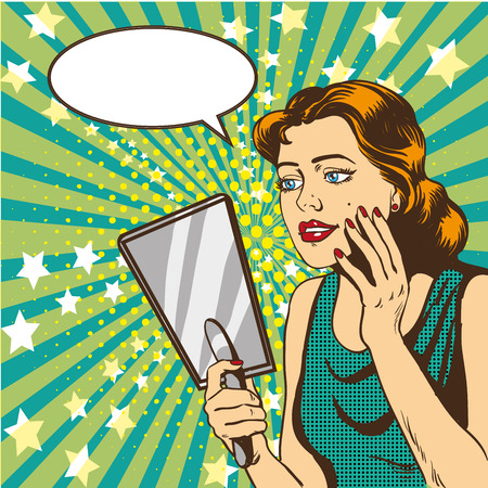 Illustration for Woman looks at the mirror vector illustration in retro comic pop art style. Speech bubble. - Royalty Free Image