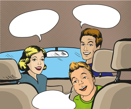Family sitting in the car looking back. Vector illustration in pop art style, retro comic book. Speech bubble