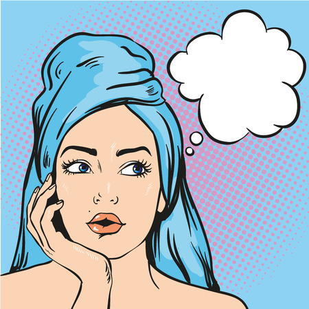 Illustration pour Woman after a shower thinking about something. Vector illustration in pop art comic style. - image libre de droit