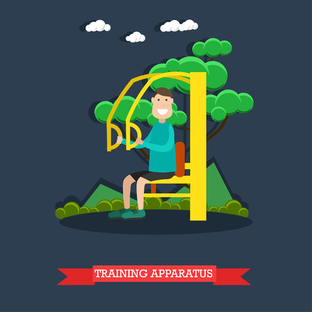 Vector illustration of man exercising on street training apparatus. Outdoors workout flat style design element.