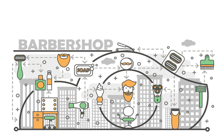 Barbershop concept vector illustration. Modern thin line art flat style design element with shaving and grooming symbols, icons for website banners and printed materials.