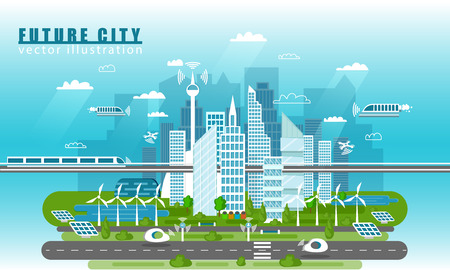 Illustration pour Smart city landscape of the future vector concept illustration in flat style. City urban skyline with modern technologies and self-driving cars. Future infrastructure and transportation - image libre de droit