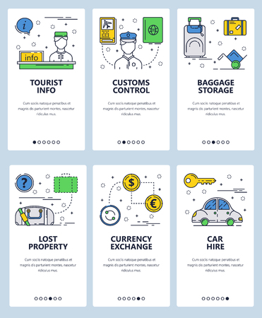 Illustration pour Vector set of mobile app onboarding screens. Tourist info, Customs control, Baggage storage, Lost property, Currency exchange, Car hire web templates banners. Thin line art flat icons for website menu - image libre de droit