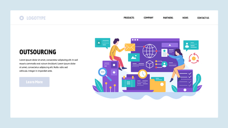 Illustration pour Vector web site design template. Outsourcing and software development. Team working with new project. Landing page concepts for website and mobile development. Modern flat illustration. - image libre de droit