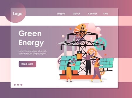 Illustration pour Green energy vector website template, web page and landing page design for website and mobile site development. Green clean energy sources, renewable electricity generation concept. - image libre de droit
