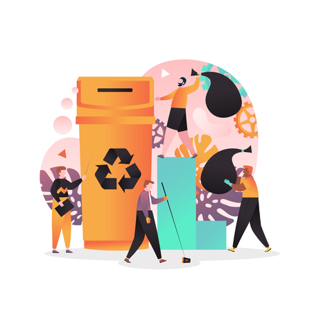 Illustration pour Waste sorting and recycling concept for web banner, website page - image libre de droit