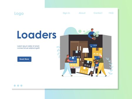 Loaders vector website landing page design template