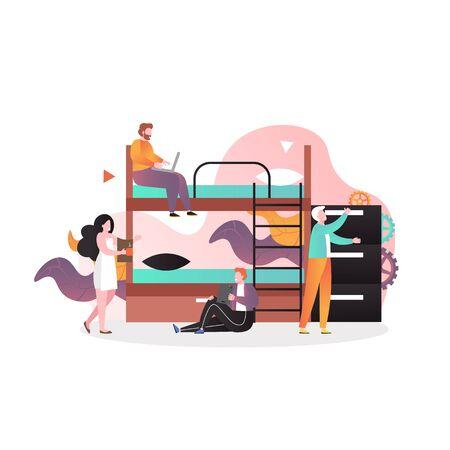 Illustration pour Hostel business vector concept for web banner, website page - image libre de droit