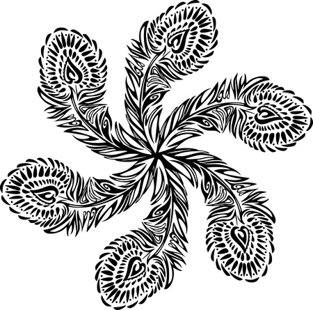 Stylized ornament texture black feathers on white background, arranged in a circle. Stylized bird feathers in the sun. Vector texture.