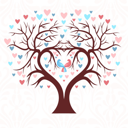 Foto de The wedding tree in the shape of a heart with two birds and colorful hearts in a leaf - Imagen libre de derechos
