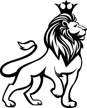 Illustration for Black white lion in full growth with a crown on his head - Royalty Free Image