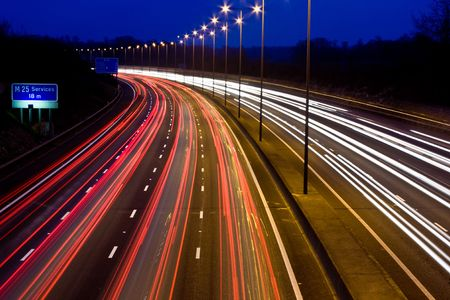 Trails of light on a busy motorway