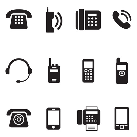 Ilustración de communication, call, phone vintage, retro telephone Vector Illustration Set - Imagen libre de derechos