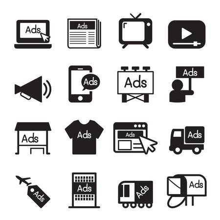Illustration pour Advertise icon set - image libre de droit
