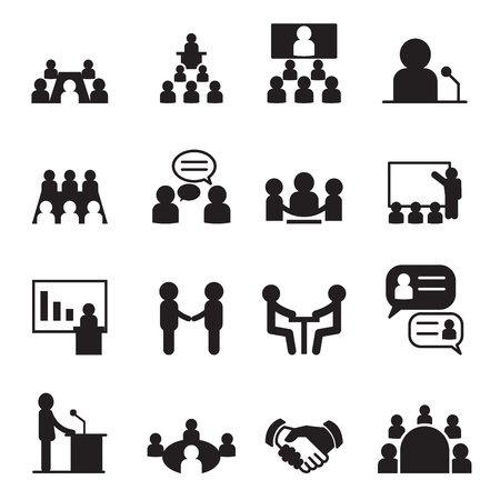 Illustration pour Conference icon set - image libre de droit