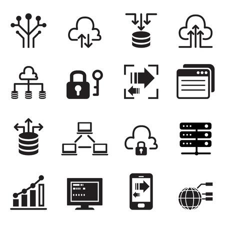 Illustration pour Data Technology icons set - image libre de droit