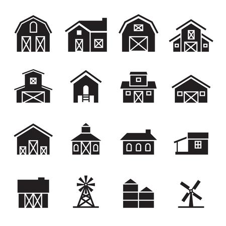 Illustration pour barn  farm building icon set - image libre de droit