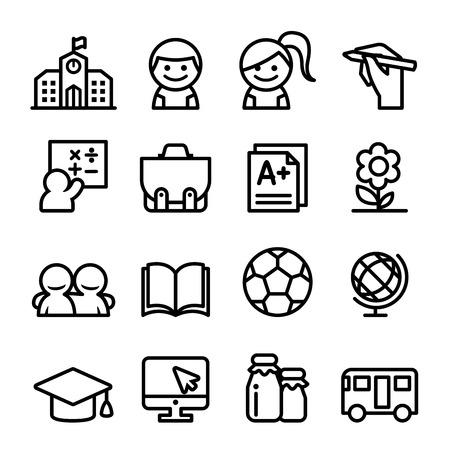 Photo for School icon set , thin line icon illustration - Royalty Free Image