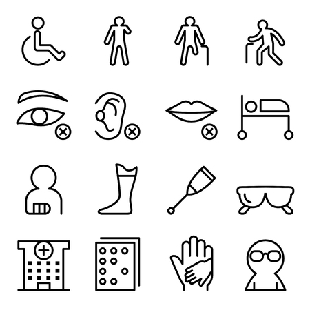 Illustration pour Handicap & Disabled icon set in thin line style - image libre de droit
