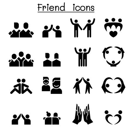 Illustration pour Friendship & Friend icon set - image libre de droit