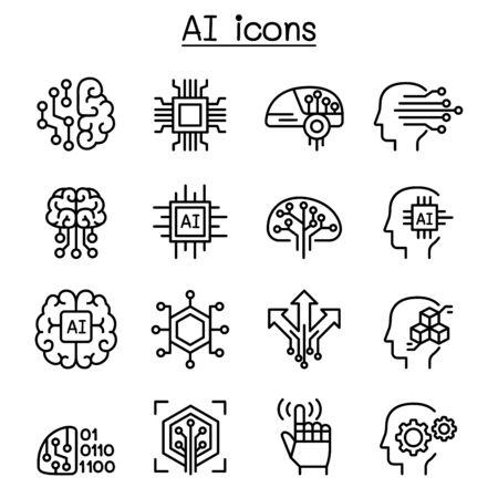 Illustration pour AI, Artificial intelligence icon set in thin line style - image libre de droit