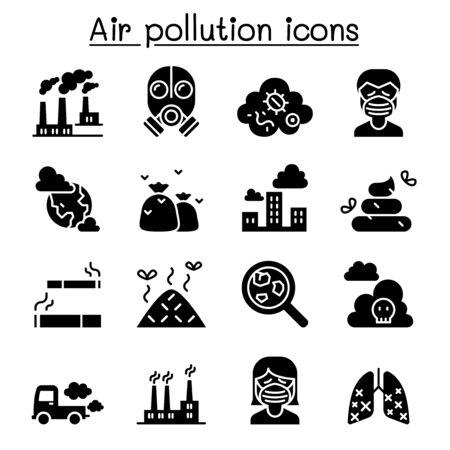 Illustration pour Air pollution icon set in thin line style - image libre de droit