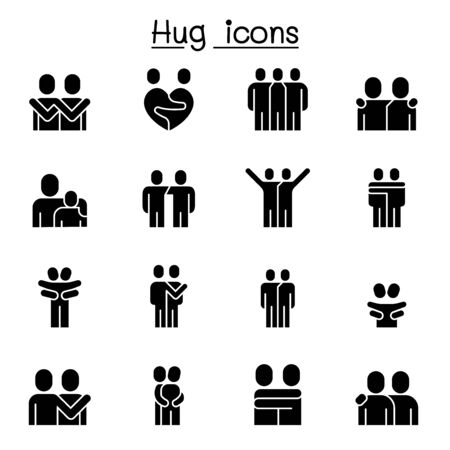 Illustration pour Lover, hug, friendship, relationship icon set vector illustration graphic design - image libre de droit