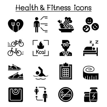Illustration pour Heath, Fitness, Diet icon set vector illustration graphic design - image libre de droit