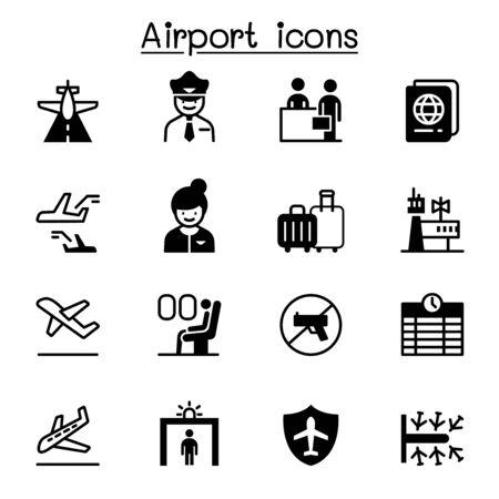 Illustration pour Airport, aviation icon set vector illustration graphic design - image libre de droit