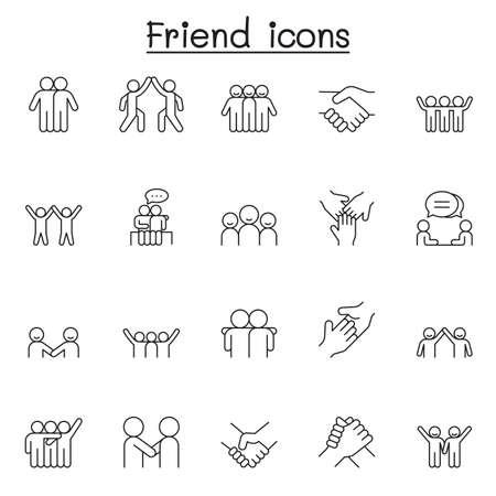 Illustration pour Friend icon set in thin line style - image libre de droit