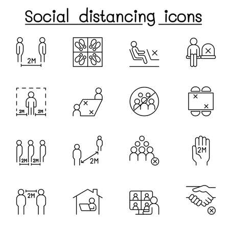 Illustration pour Set of Social distancing Related Vector Line Icons. Contains such Icons as avoid crowd, work from home, new normal life style, stay home and more. - image libre de droit