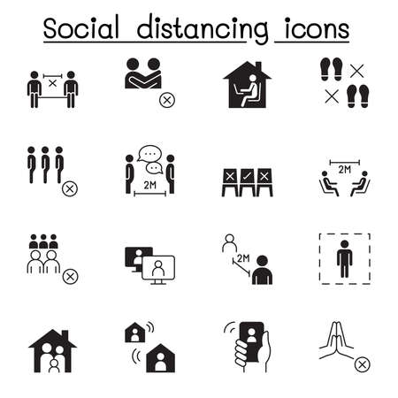 Illustration pour Set of Social distancing Related Vector Icons. Contains such Icons as avoid crowd, work from home, new normal, stay home and more. - image libre de droit
