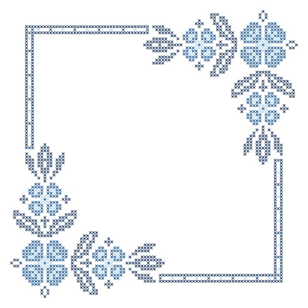Cross-stitch embroidery in Ukrainian traditional ethnic style