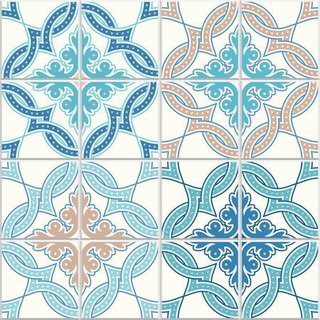 Illustration pour Portuguese tiles, quatrefoil vector pattern. Tangled modern pattern, based on traditional oriental a=Arabic patterns, arabesque. - image libre de droit