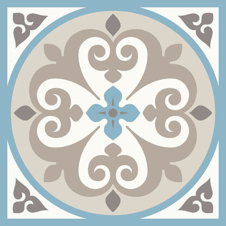 Illustration pour Ancient floor ceramic tiles. Flooring tiling seamless vector background. Vector illustration. - image libre de droit
